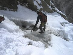 Rock Climbing Photo: Creek/falls goes pretty low angle after a short bi...