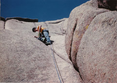 Rock Climbing Photo: Leading Edwards Crack with my brand new PA's.  Age...