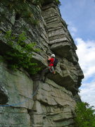 Rock Climbing Photo: RRuef pulling the roof of Shockley's, after linkin...