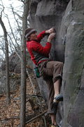 Rock Climbing Photo: Matching the high crimp for the last move.  Nice w...