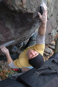Rock Climbing Photo: Sticking the crux move on the send.  Quick work!