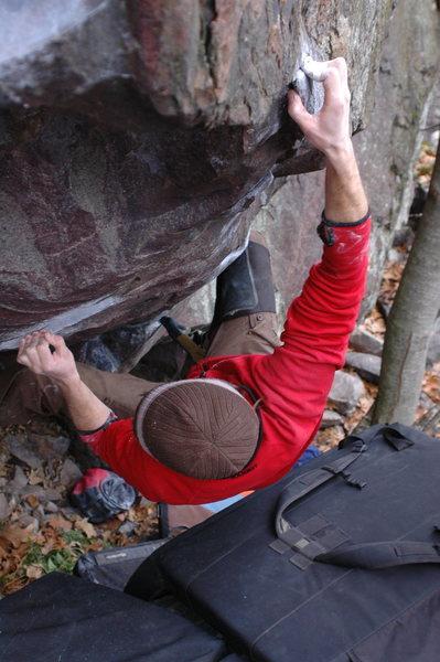 Rock Climbing Photo: Chris flashing Massive Vertigo!  Well done!