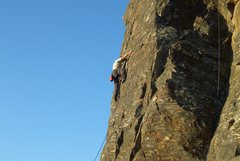 Rock Climbing Photo: Floyd Hayes leading Sunset Face Left 5.9. Photo by...