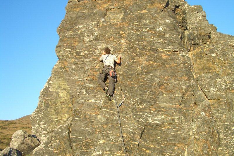 Rock Climbing Photo: Floyd Hayes leading Sunset Face Left 5.9. Photo by...