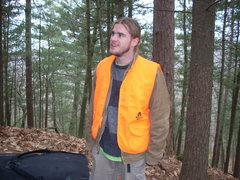 Rock Climbing Photo: Vinny, in deer season style. Vests lent to us by t...
