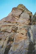Rock Climbing Photo: On the first ascent Ross approaching the overhangi...