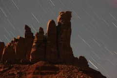Rock Climbing Photo: North Six Shooter's east face at night