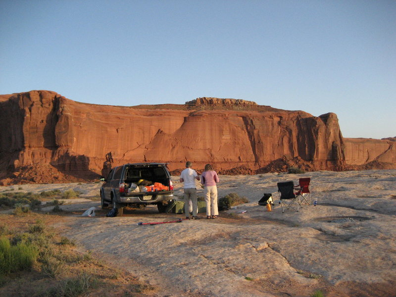 Camp site for the Butte. .The cental area of rock is the location of the Road Not Taken