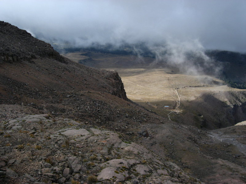 Rock Climbing Photo: This is the view on the descent.  The refugio is t...