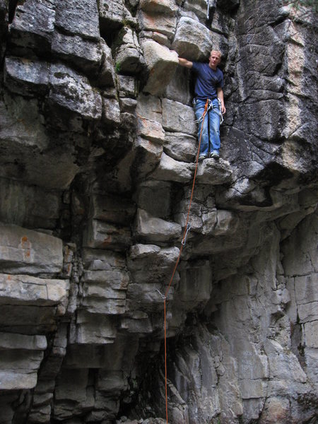 Rock Climbing Photo: Adam Sinner taking a coffee break halfway through.