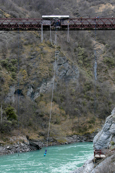 43-meter Kawarau Bridge, near Queenstown...home to the word's original bungy jump.