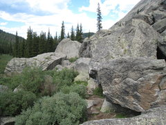 Rock Climbing Photo: Topher's Problem is visible in the lower right asc...