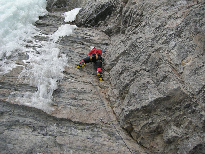 Nearing the crux before heading up and left to the ice.