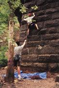 Rock Climbing Photo: First mock sport lead, Elizabethtown pillar, 1999.