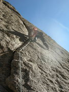 Rock Climbing Photo: Lindsay having no problem running it out the crux ...