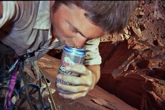 Rock Climbing Photo: Bolting is thirsty work, fa Dingo p1?
