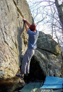 """Rock Climbing Photo: Aaron Parlier with the fa of """"Domain"""" (V..."""