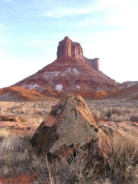 Looking up to Parriot Mesa and Crooked Arrow Spire. photo Carol Crockett
