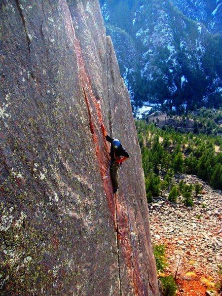 Rock Climbing Photo: Placing pro.