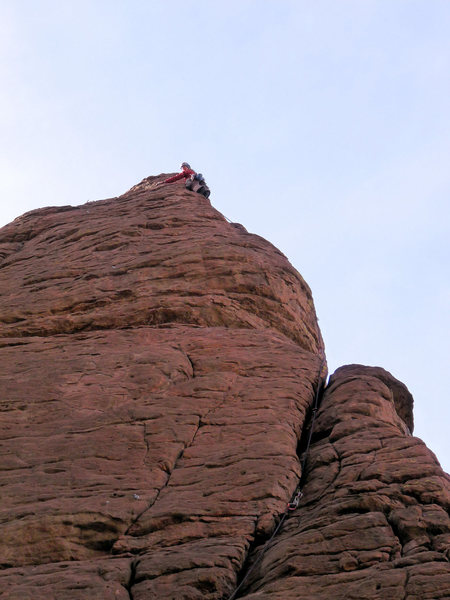 The fun arete/crack is the reward after pulling the exposed bulge!