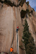 Rock Climbing Photo: Onsighting on a crisp December day - Photo by Kirs...