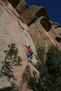 Rock Climbing Photo: Warming up on Rasmussen's Crack.