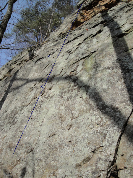 Rock Climbing Photo: The return follows the blue line.  Only the first ...