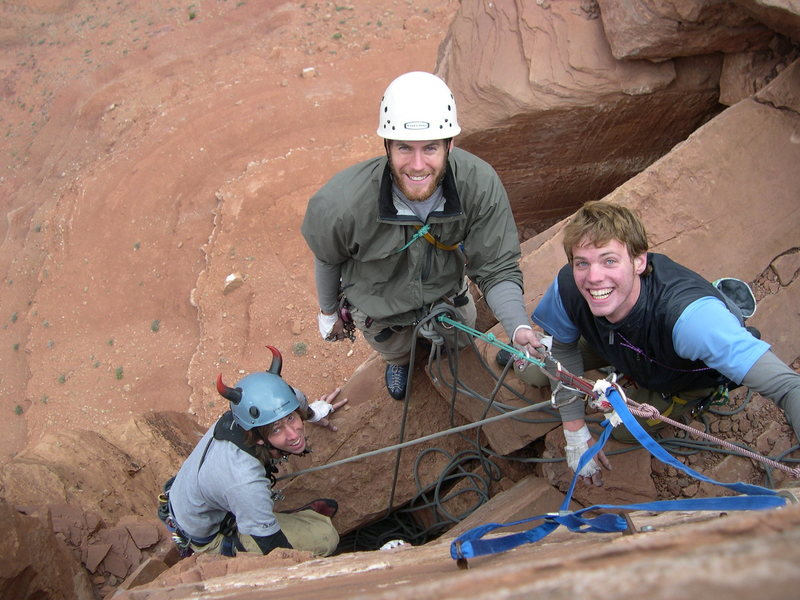 Mikey, John, and I at the last belay at the top of Castleton Tower... Mike was getting festive for a Devils Tower trip that got rained out, so instead we went to the Desert!