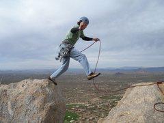 Rock Climbing Photo: Jump across from W to E summit of Pinnacle Peak