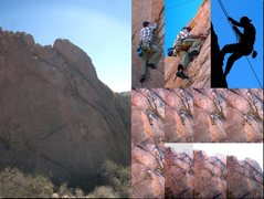 Rock Climbing Photo: Top middle photo is the layback.  Bottom sequence ...
