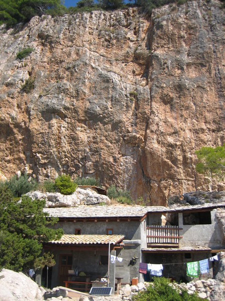 Rock Climbing Photo: Cliffbase on the island of Hvar. The cabin you can...