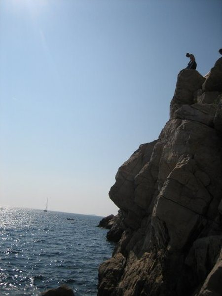 Cliff jumping outside the city walls of Dubrovnik.