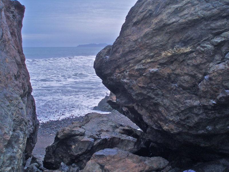 Rock Climbing Photo: Orange Buddha Boulder (side view)