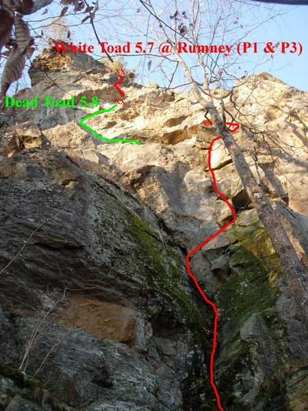 White Toad with the Dead Toad variation.  The standard second pitch goes up a slab to the right of the first anchor and then comes back left.  The angle of this picture is a little strange but you can get a general idea of the route.