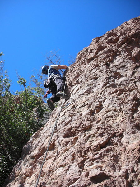 """Nearing the top of the initial headwall of """"Oolong"""" in the Tea Room."""