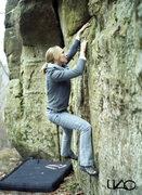 Rock Climbing Photo: Melissa working a VB traverse, in late November 20...