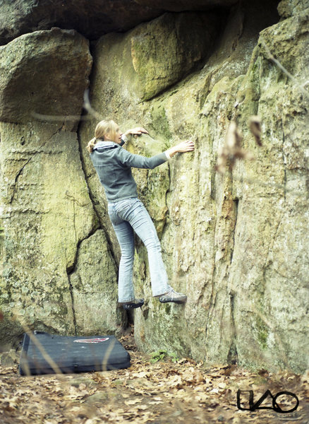 Rock Climbing Photo: Traversing along the bottom with the the smack cra...