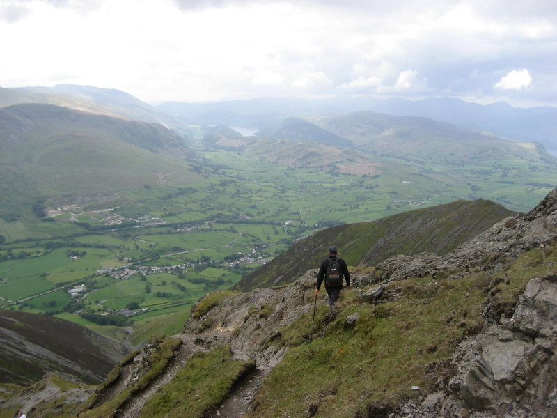 Hiking on Blencathra Mt.Looking towards Thirlmere Lake and St John's in the Vale