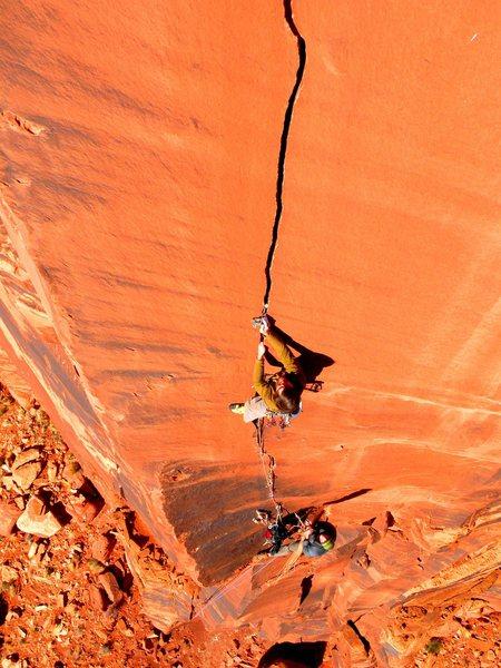 Rock Climbing Photo: Dustin on the Six Star Crack