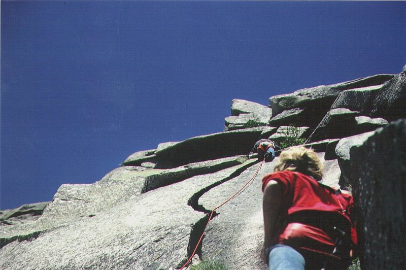 Rock Climbing Photo: FA of Vertigo 1971 . Note no protection on the hal...