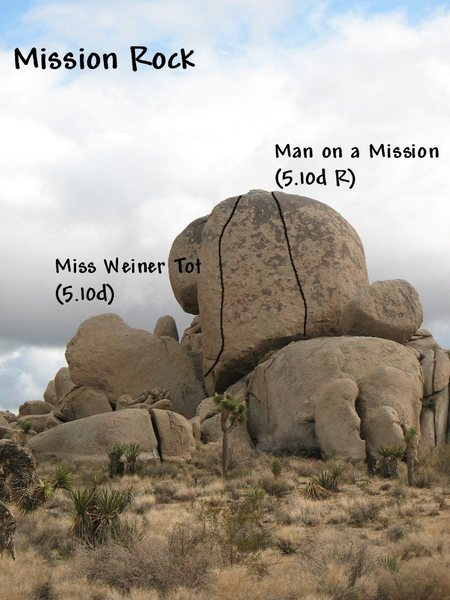 Rock Climbing Photo: Photo/topo for Mission Rock, Joshua Tree NP.