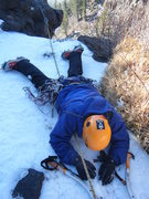 Rock Climbing Photo: Jim Whalen after surviving a fractured overhanging...