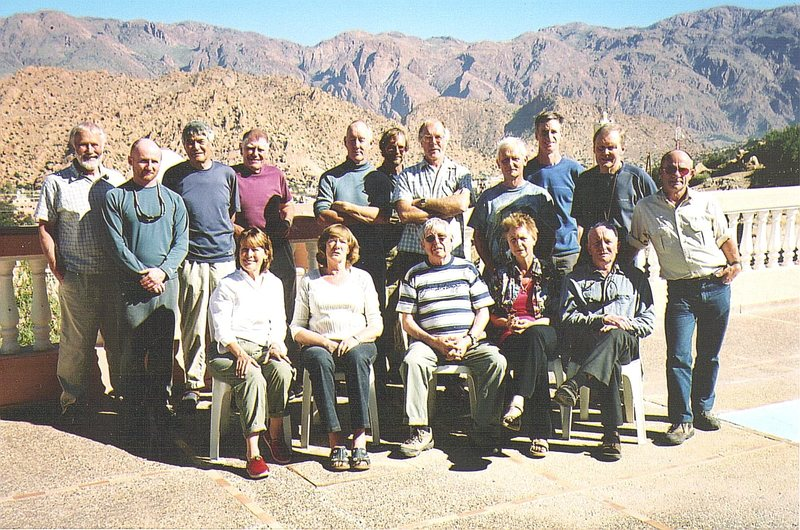 The veteran team on this trip ...both from the States and the UK .Such teams assemble for new routing usually in March.Photo taken from the Hotel les Amandiers,Tafroute L to R Top Chris Bonington ,Andy Ross ,Claude Davies.Pete Turnbull,Jim Fothringham.Mike Hintz ,Mike Mortimer ,Ben Winteringham,Jim Howe,Derek Walker ,Paul Ross. Bottom row.. Tommie Howe,Marjorie Mortimer ,Joe Brown,Marian Winteringham, Joe (Morty) Smith.