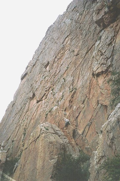 Massive unclimbed crags and walls such as this are found all over the Anti-Atlas mountains . Here Andy Ross takes off on what turned out to be a 5.10 climb.