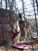 Rock Climbing Photo: Zach entering one of the warm-ups. the two problem...