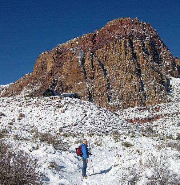 Yay! Snow!! : )<br> <br> My friend Karen on our hike into Oak Creek Canyon on a snowy day in Red Rock. <br> <br> Taken 12/8/09