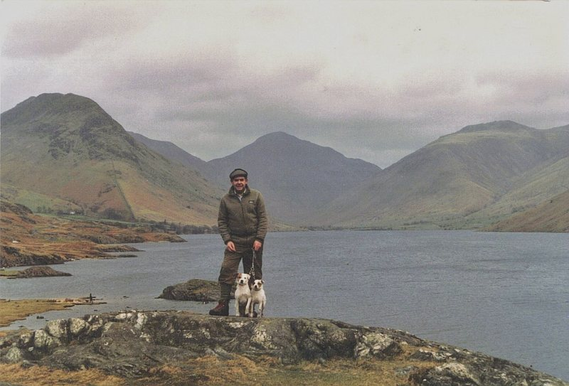 Looking up the Wasdale Valley viewed across Wasdale Lake with the mountain Great Gable (Napes Needle area) at the head of the valley..... Pete Greenwood one of the greatest all time Lake District rock climbers hanging onto Crufts BOB winner Blencathra Badger and his sister Nettle !!