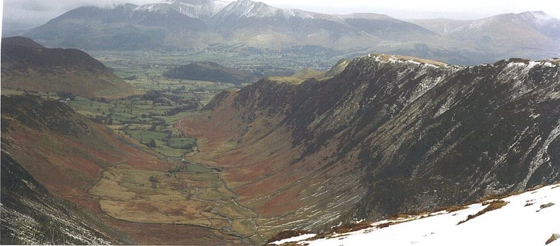 Looking down Scope Beck towards the Newlands Valley with Skiddaw Mt in the background,Blencathra Mt to the far right