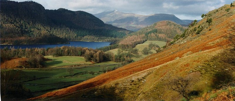 View from Helvellyn across the Thirlmere Lake Towards Skiddaw Mt above the town of Keswick