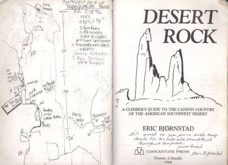 The first topo of Tabeguache.  I used to draw them into the blank pages of the first Desert Rock guide.  Note from Eric written on the title page.